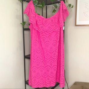 Jessica Howard Hot Pink Eyelet Dress